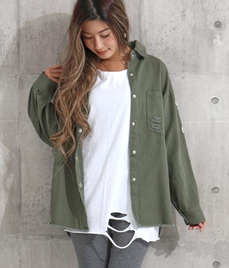 袖プリントダメージミリタリーシャツ(トップス/シャツ・ブラウス) | ANAP