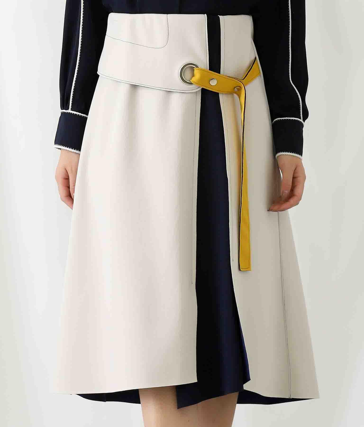 ボンディング配色ステッチアイレットスカート