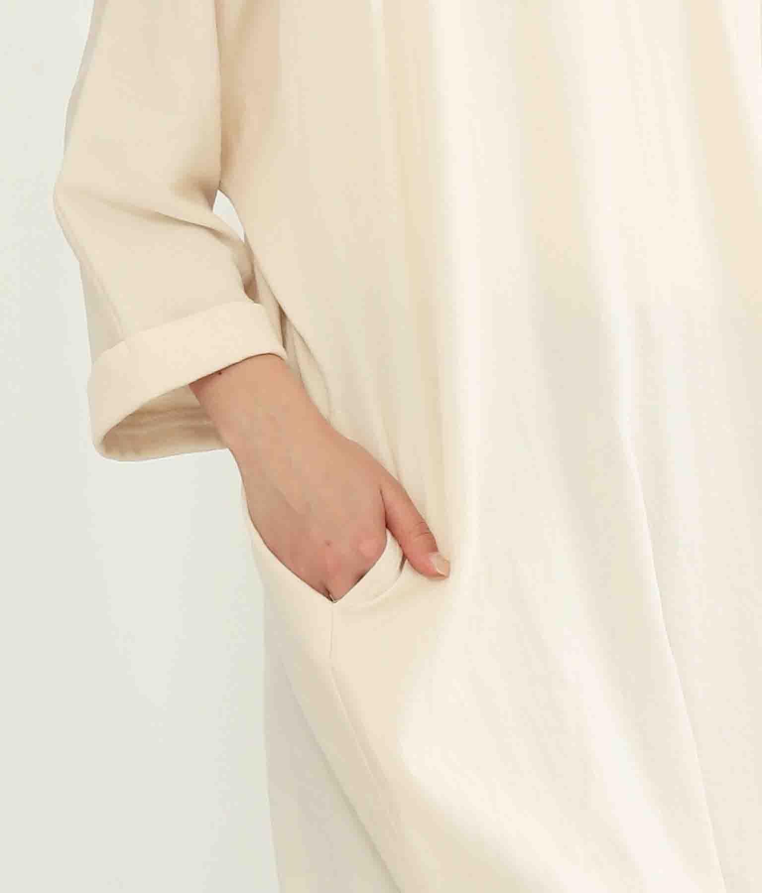 麻調合繊Vネックワンピース(ワンピース・ドレス/ロングワンピ)   Alluge