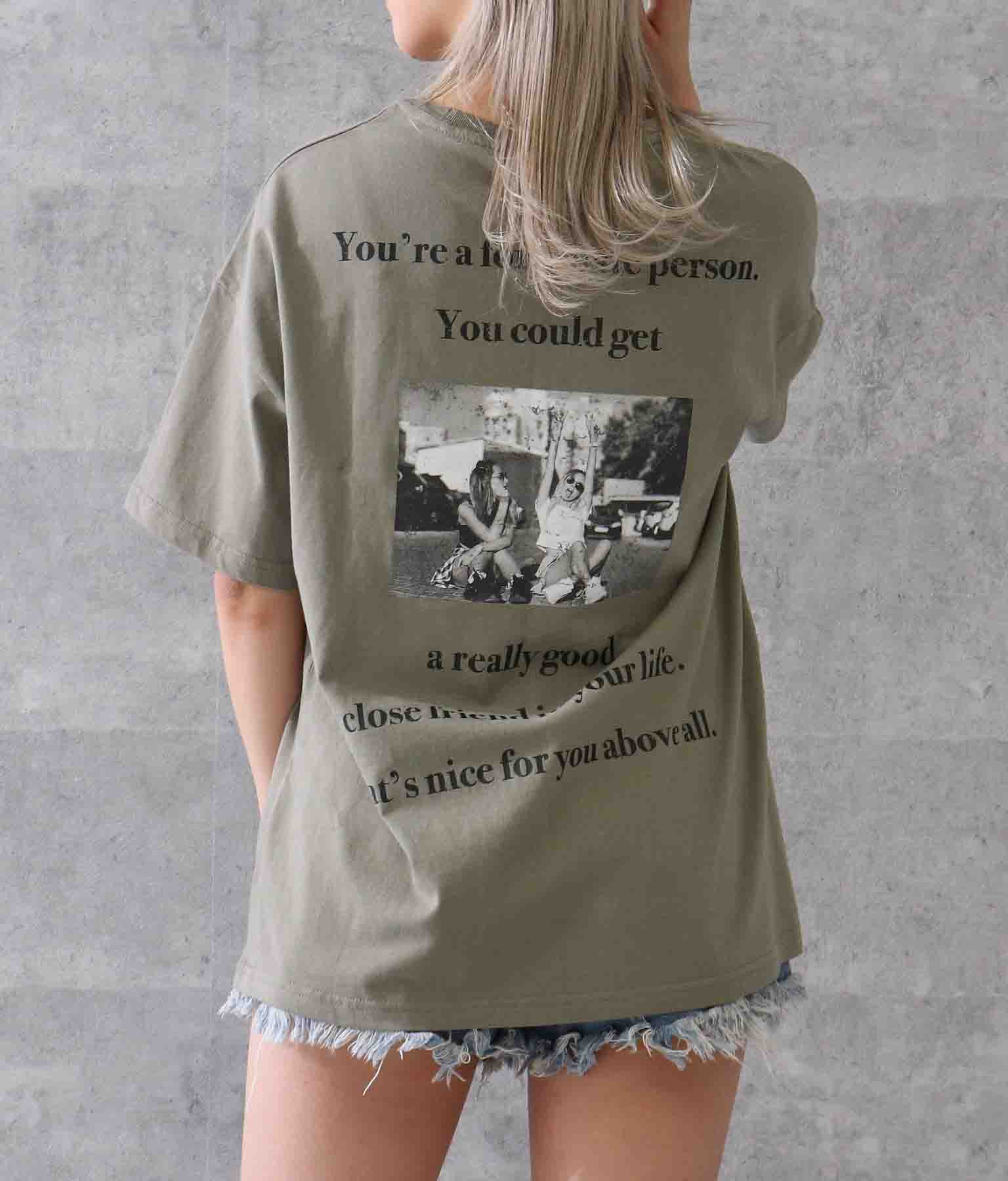擦れフォトプリントビッグTシャツ