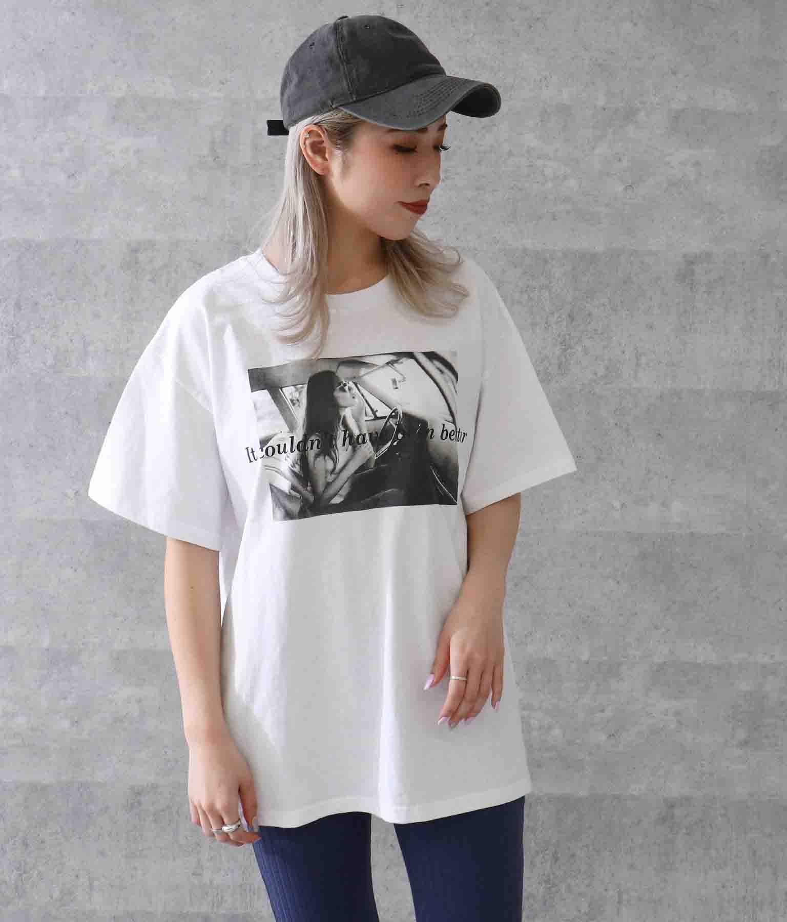 サイドスリットフォトプリントTシャツ