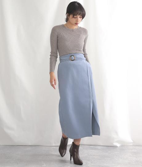 ラップデザインベルト付スカート(ボトムス・パンツ /ミモレ丈スカート・スカート) | Alluge