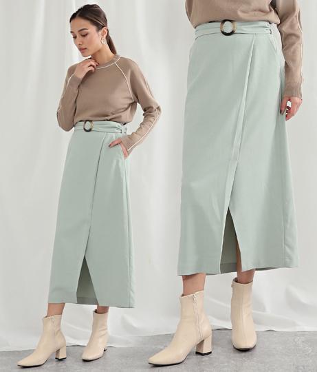 ラップデザインベルト付スカート