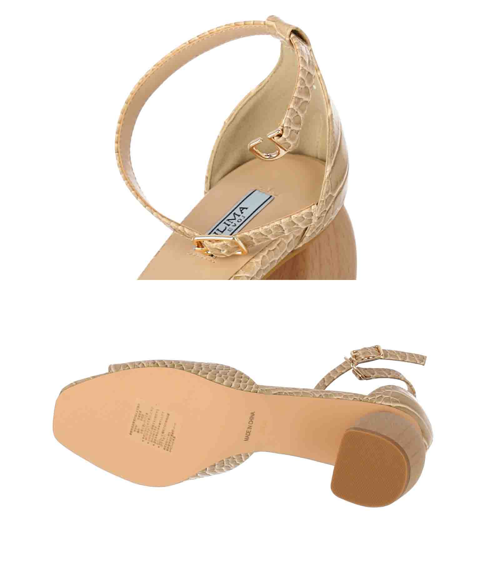 クロコダイル×ウッドヒールサンダル(シューズ・靴/サンダル) | Alluge