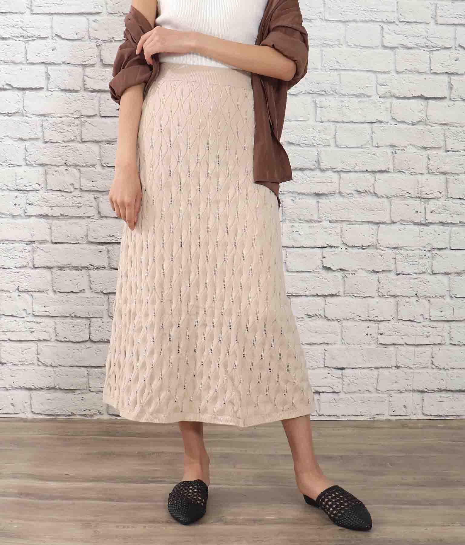 リーフ柄ジャガードフレアスカート(ボトムス・パンツ /ニットスカート ・スカート) | Alluge