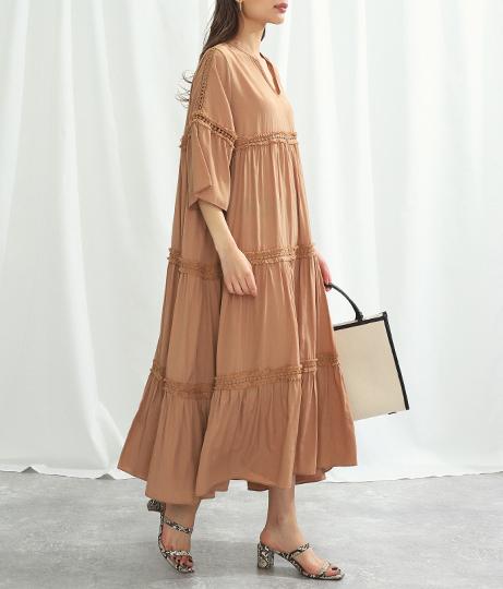 サテンティアードワンピース(ワンピース・ドレス/ロングワンピ)   Alluge