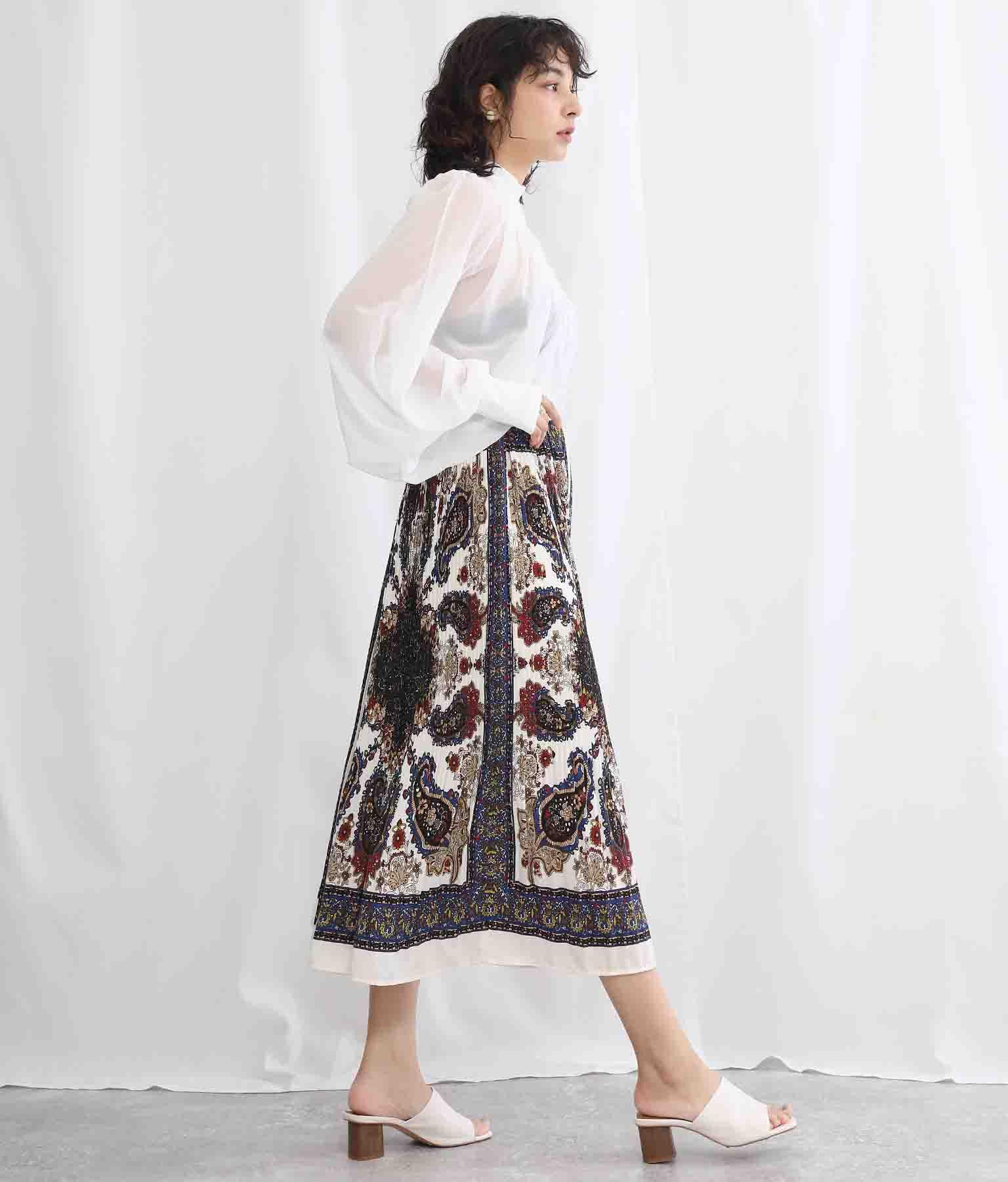 スカーフプリント消しプリーツスカート(ボトムス・パンツ /ミモレ丈スカート・スカート) | Settimissimo