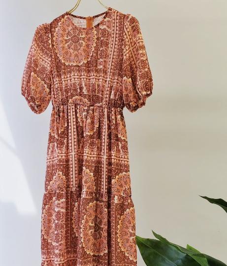 ペイズリー柄半袖マキシワンピース(ワンピース・ドレス/ロングワンピ) | CHILLE