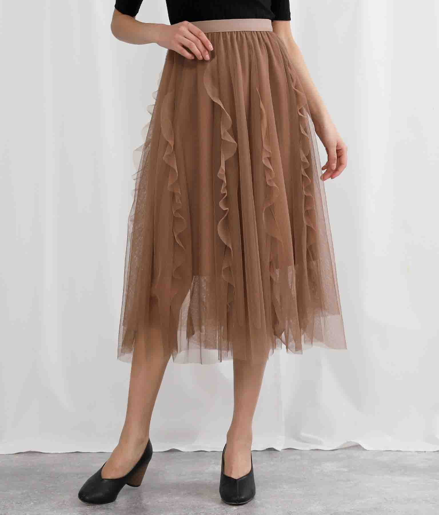 フリル×チュールフレアスカート