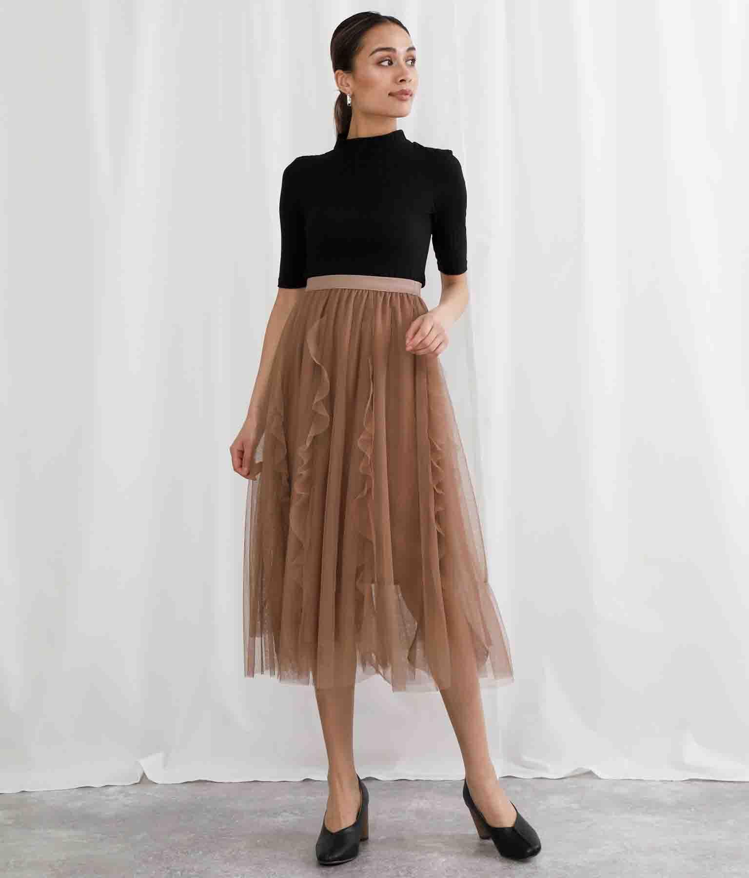 フリル×チュールフレアスカート(ボトムス・パンツ /ミモレ丈スカート・スカート) | Settimissimo