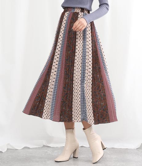 パッチワーク柄プリーツスカート(ボトムス・パンツ /スカート) | Alluge