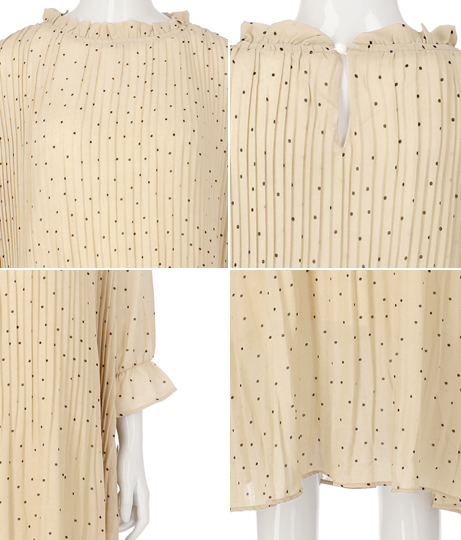 ランダムドットプリーツワンピース(ワンピース・ドレス/ロングワンピ) | Alluge