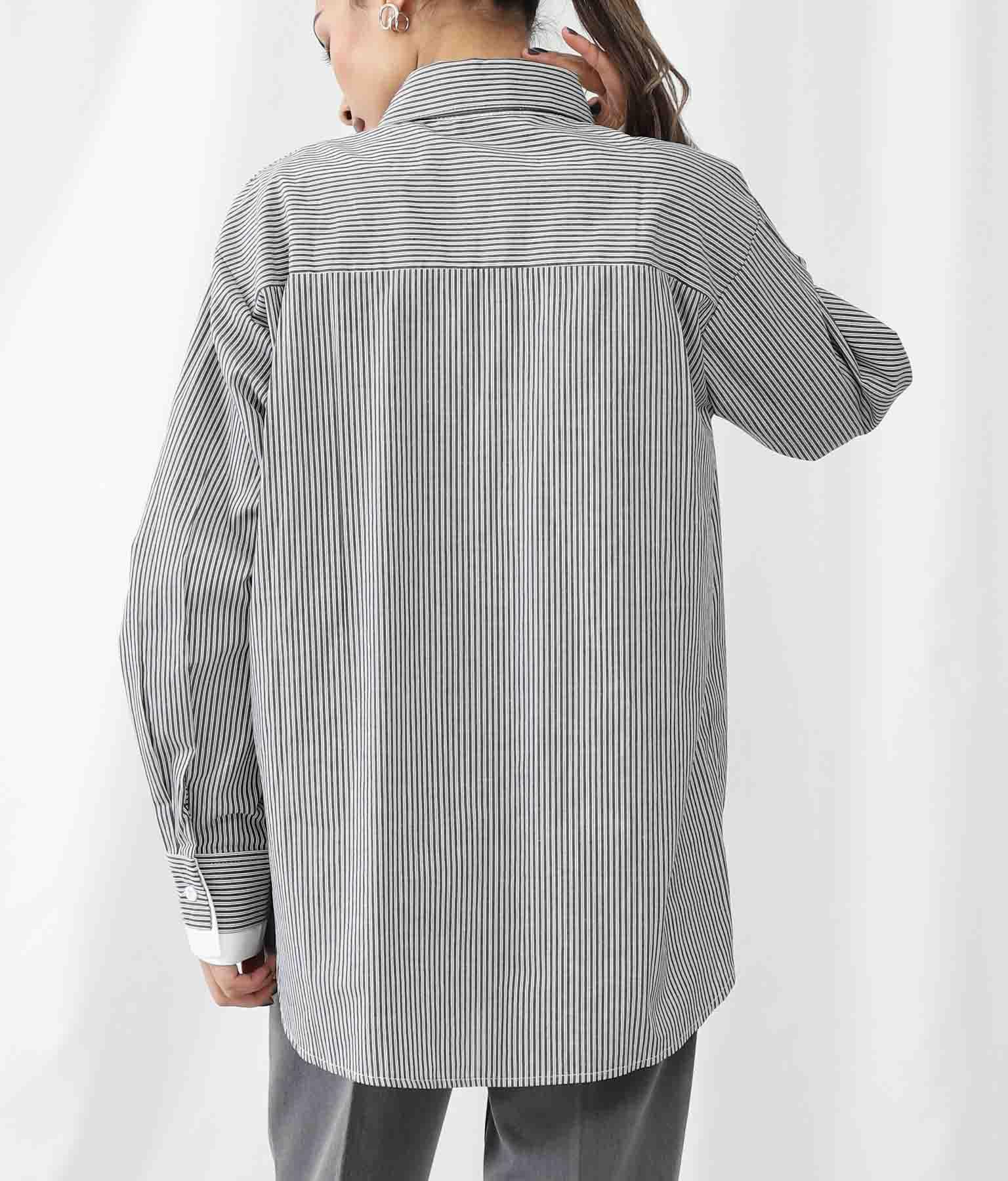 ストライプサイドレイヤードデザインシャツ   Settimissimo