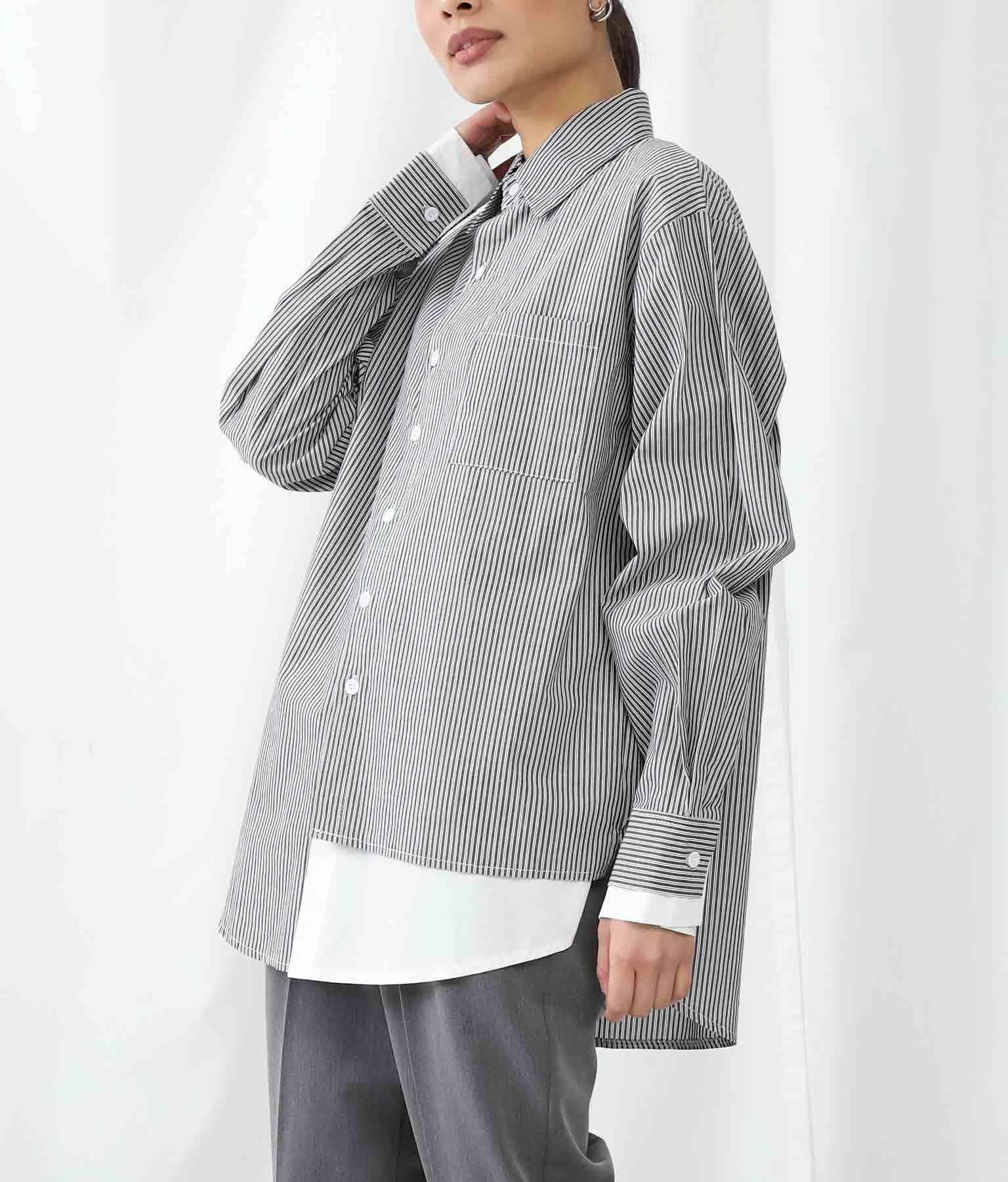 ストライプサイドレイヤードデザインシャツ