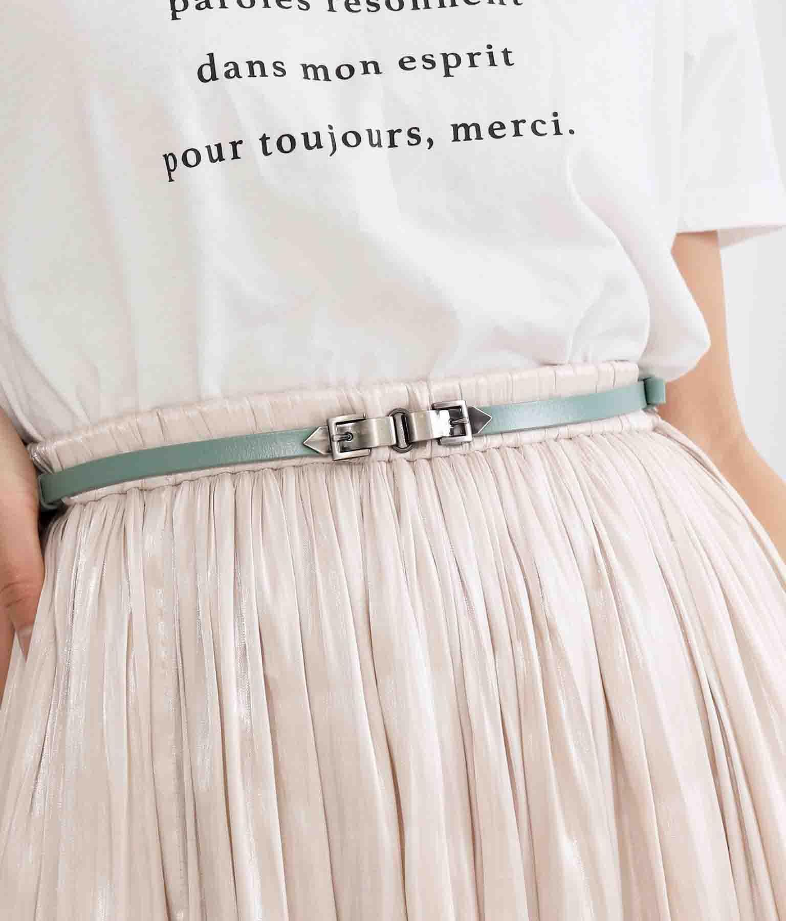 マットシルバーバックルナローベルト(ファッション雑貨/ベルト) | Settimissimo
