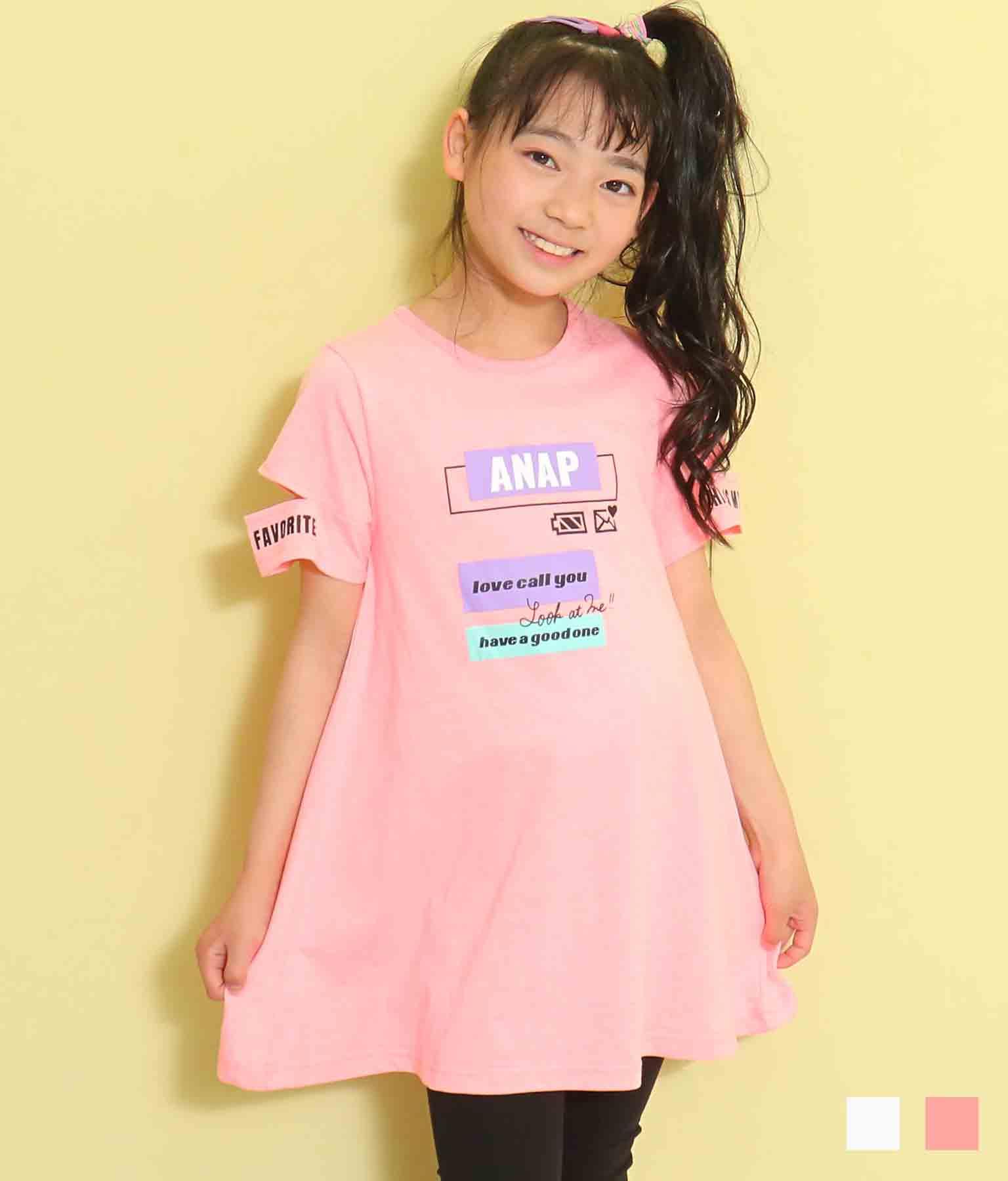 袖開きメッセージプリントワンピース(ワンピース・ドレス/チュニック・ミニワンピ) | ANAP KIDS
