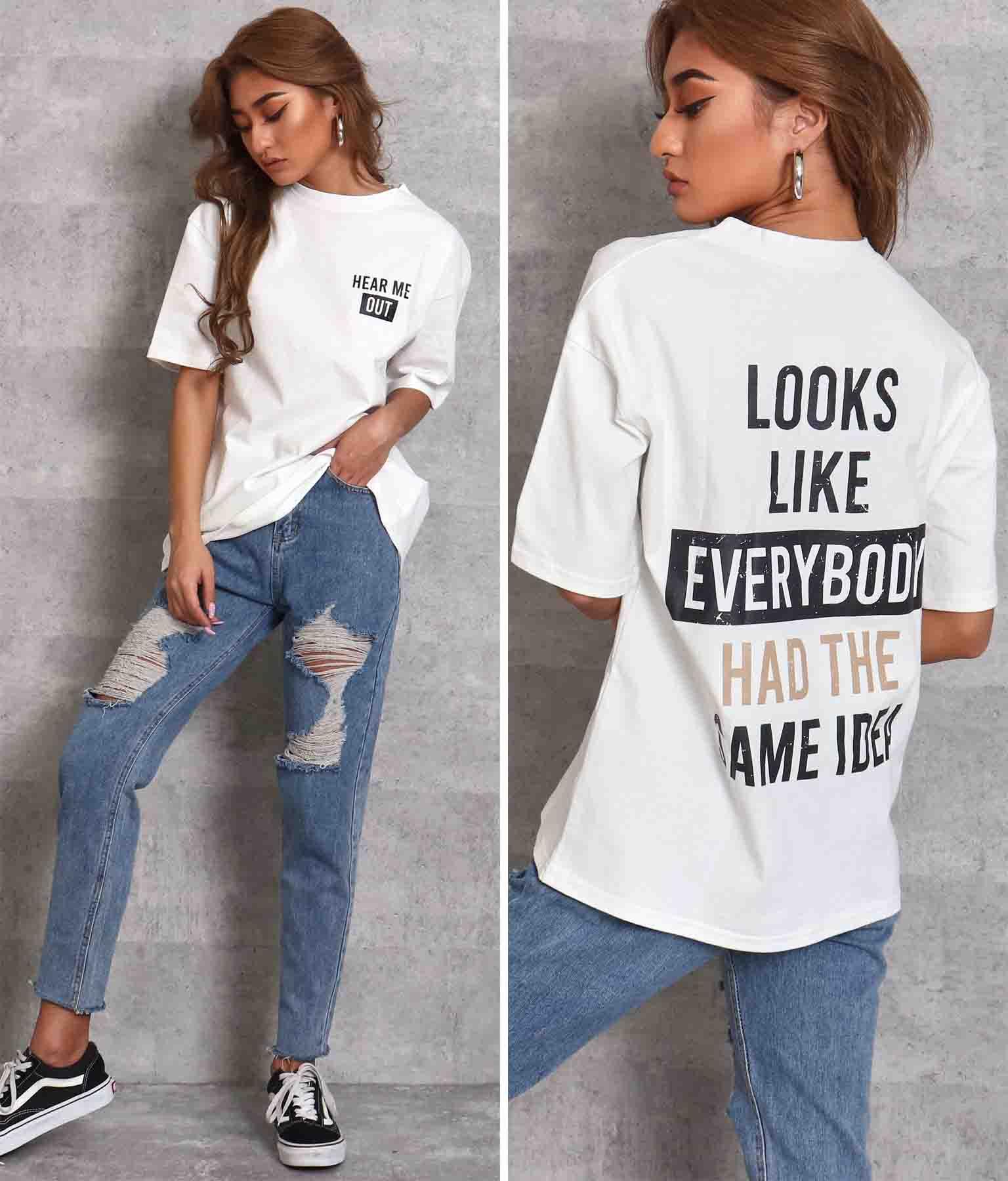 掠れ英字プリントTシャツ