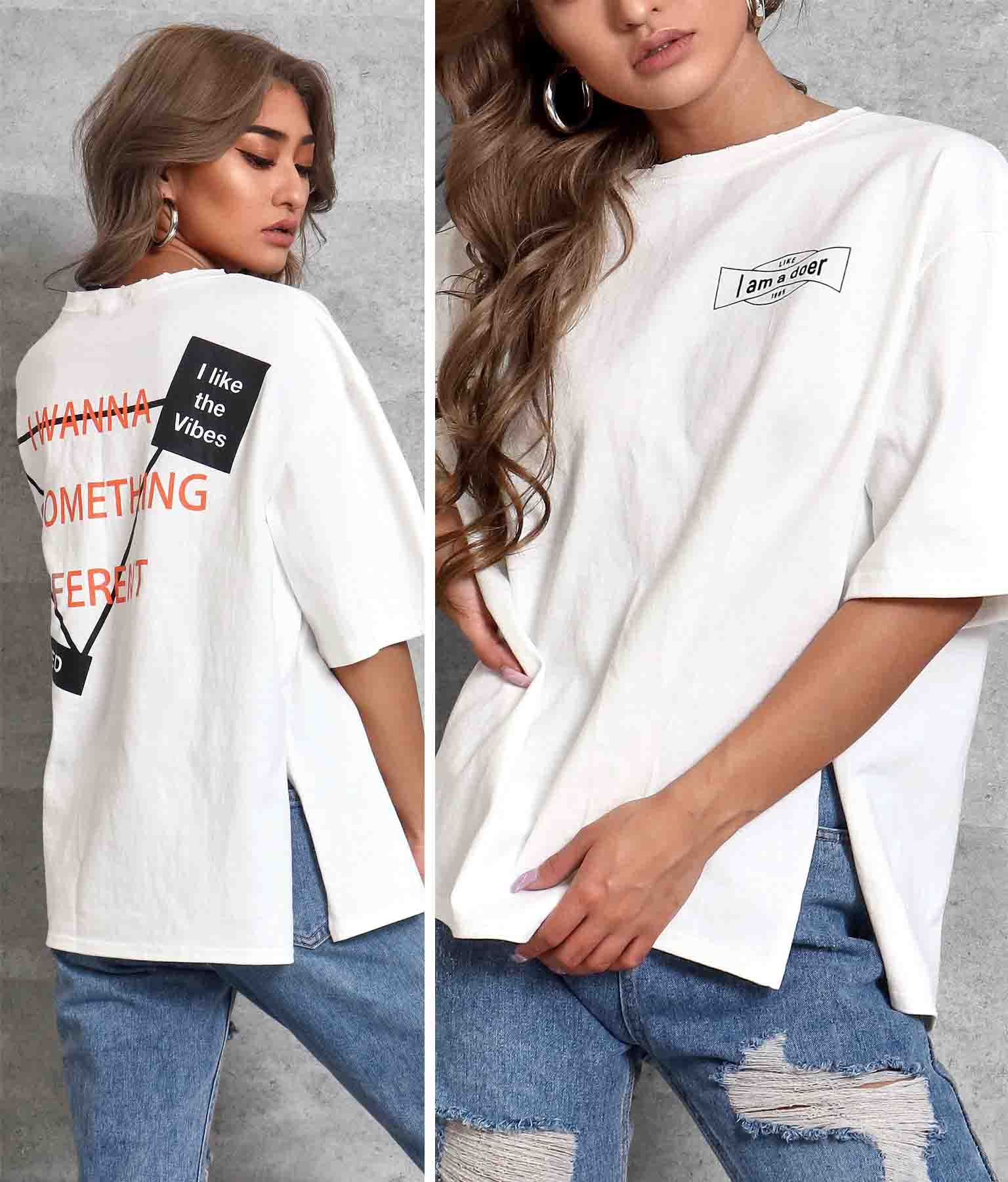 ネックダメージ両面プリントTシャツ