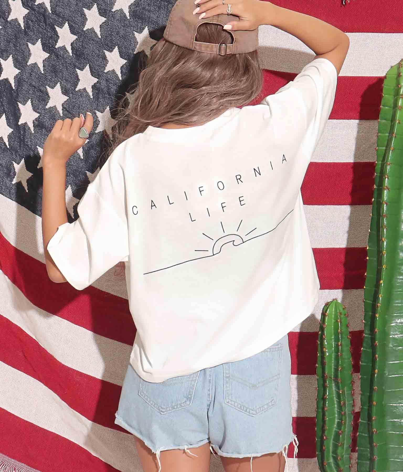 ウェーブ刺繍クロップドTシャツ