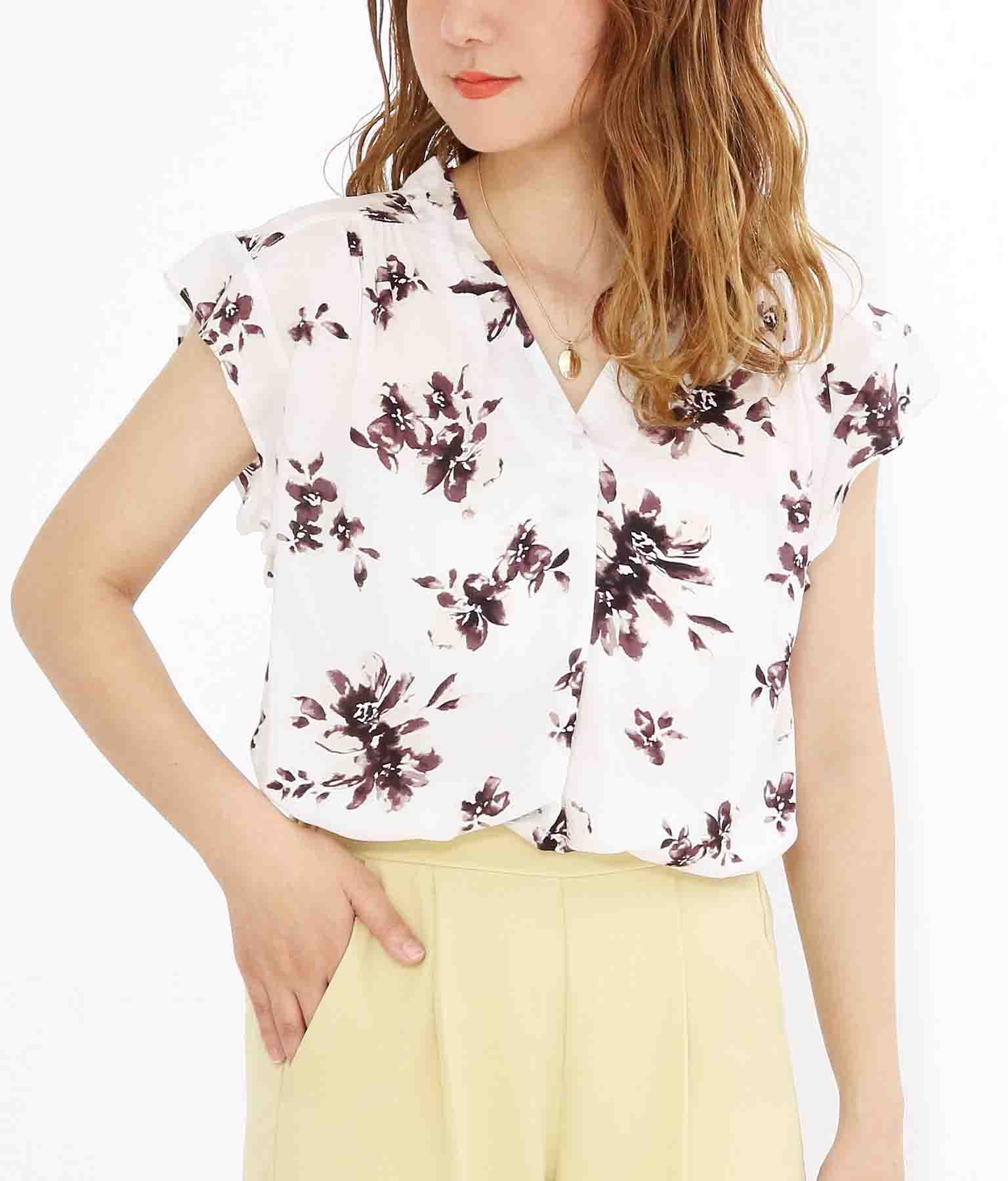 袖フリル花柄レーヨンスキッパーシャツ