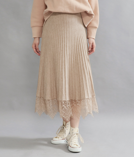 リブレースフレアニットスカート