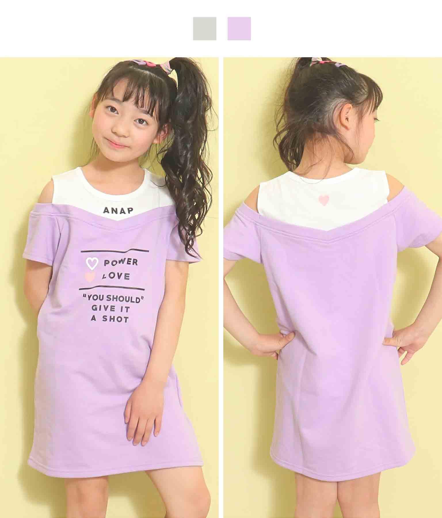 肩開きドッキングワンピース(ワンピース・ドレス/ミディアムワンピ) | ANAP KIDS
