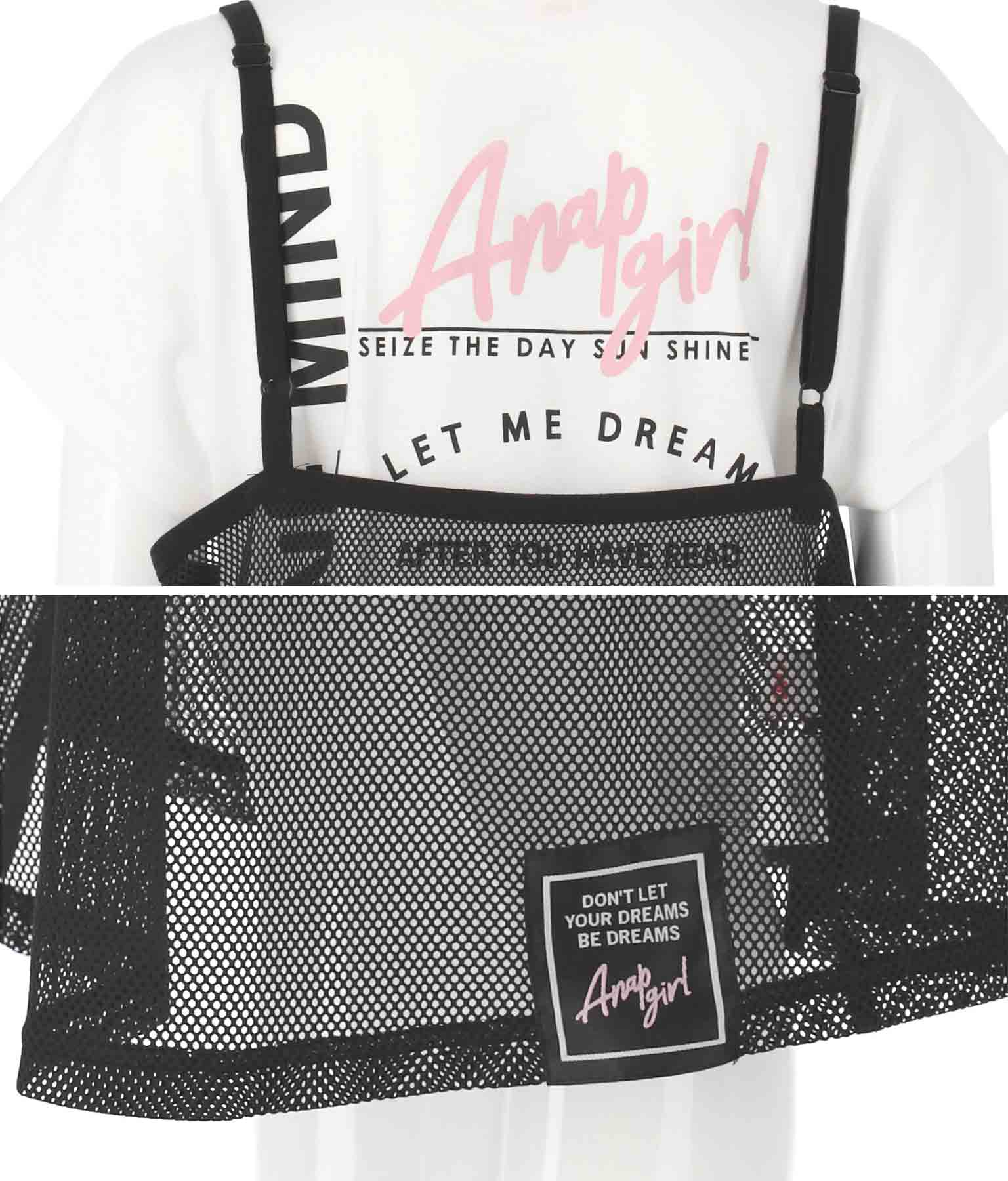 キャミソールメッシュワンピースセット(トップス/Tシャツ・チュニック・ミディアムワンピ・ミニワンピ) | ANAP GiRL
