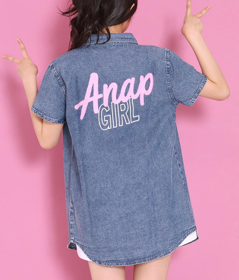 プリント入ケミカルデニムシャツ(トップス/デニムシャツ・シャツ・ブラウス) | ANAP GiRL