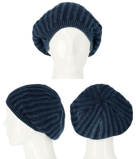リブウォッシュ加工サマーニットベレー帽(ファッション雑貨/ハット・キャップ・ニット帽 ・キャスケット・ベレー帽) | Settimissimo
