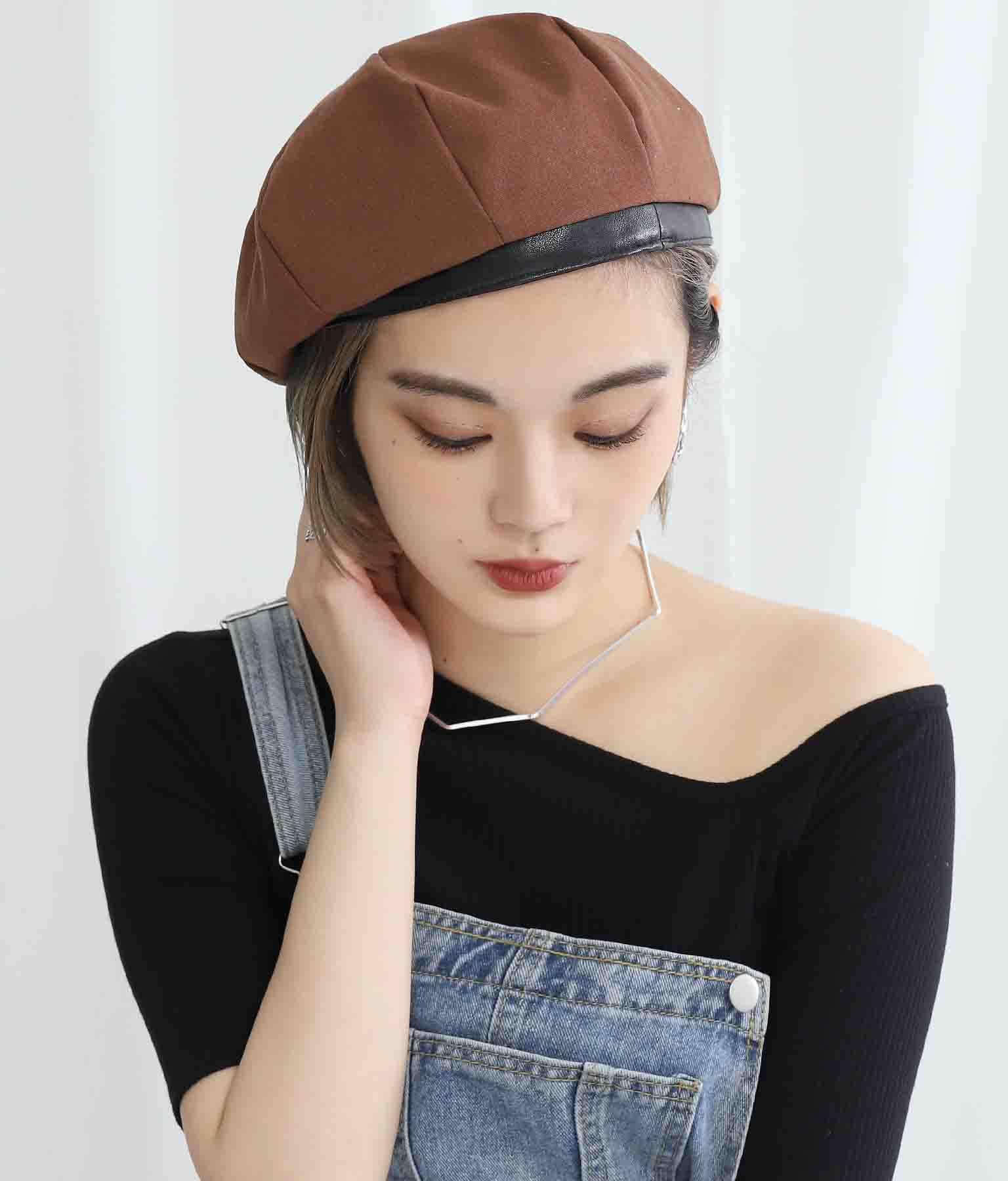 リネンライクパイピングボリュームベレー帽