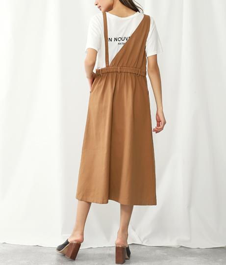 ワンショルダーアシンメトリーカツラギジャンパースカート(ワンピース・ドレス/ロングワンピ・マキシ丈ワンピース) | Settimissimo