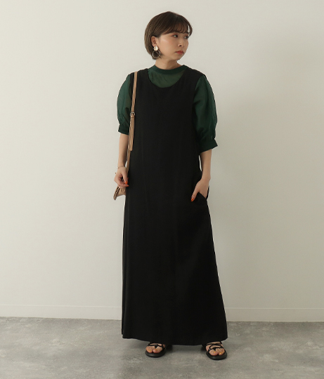 リネンバッククロスワンピース(ワンピース・ドレス/ロングワンピ・マキシ丈ワンピース) | Factor=