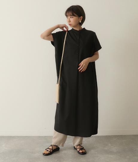 バンドカラーバックスリットワンピース(ワンピース・ドレス/ロングワンピ・マキシ丈ワンピース) | Factor=