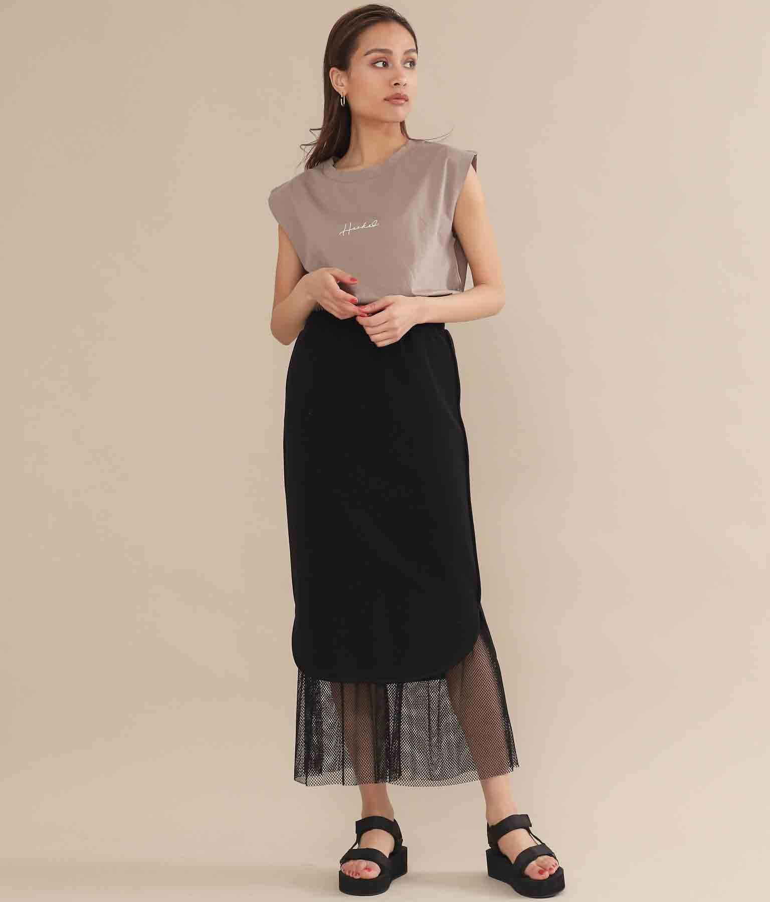 ラウンドヘムメッシュレイヤードタイトスカート(ボトムス・パンツ /スカート) | Alluge