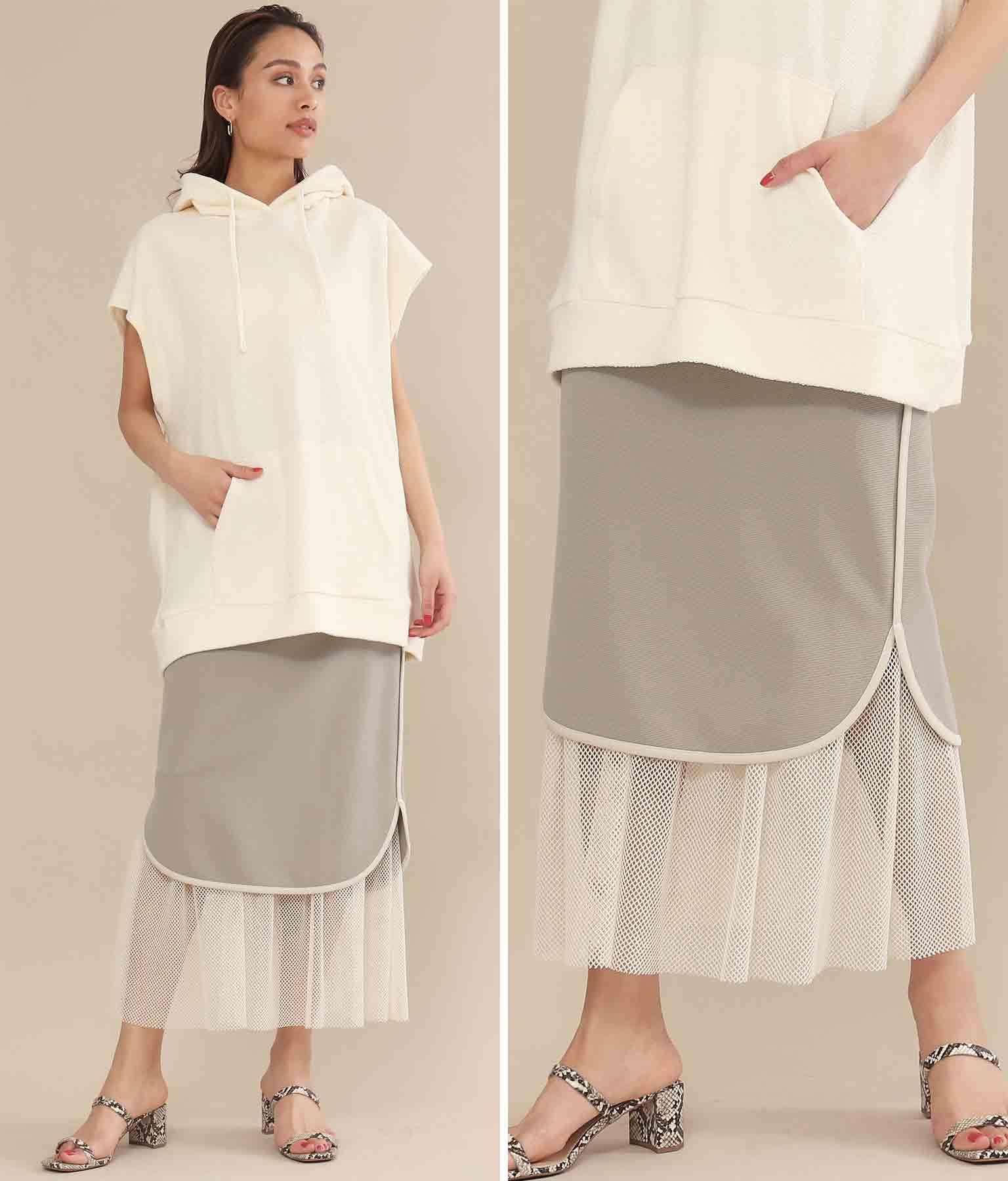 ラウンドヘムメッシュレイヤードタイトスカート