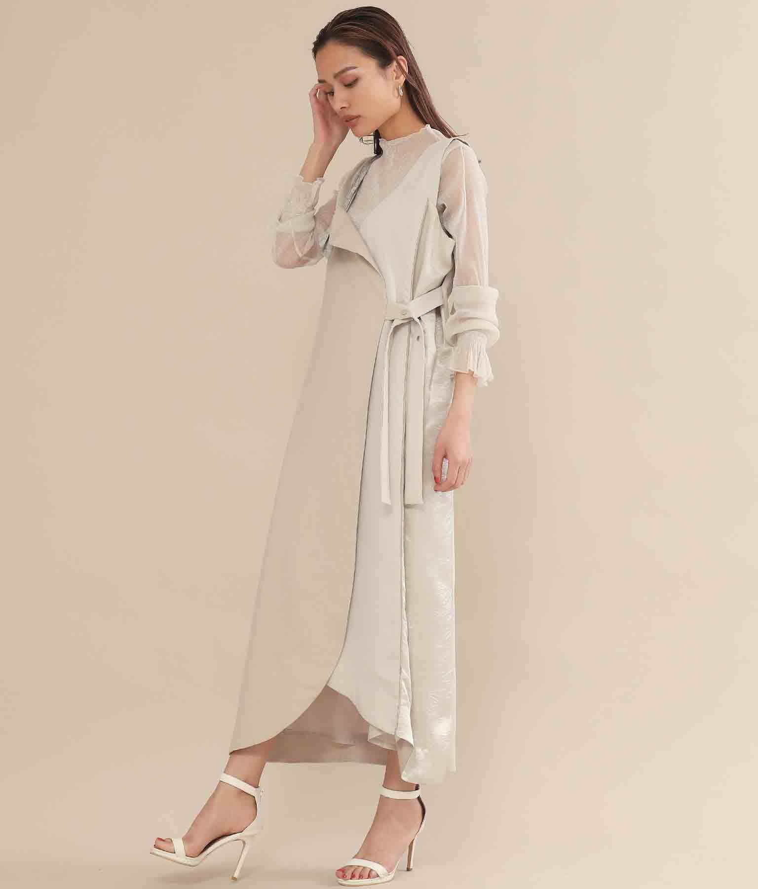 ラウンドヘムサテン切替ジャンパースカート(ワンピース・ドレス/ロングワンピ) | Alluge