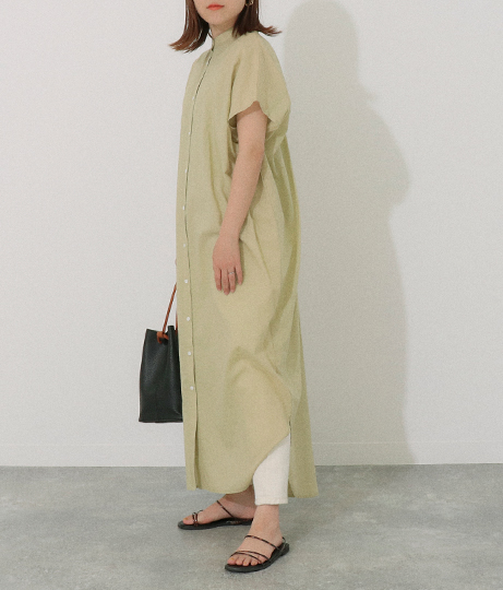タックドレープシャツワンピース(ワンピース・ドレス/ロングワンピ・マキシ丈ワンピース) | AULI