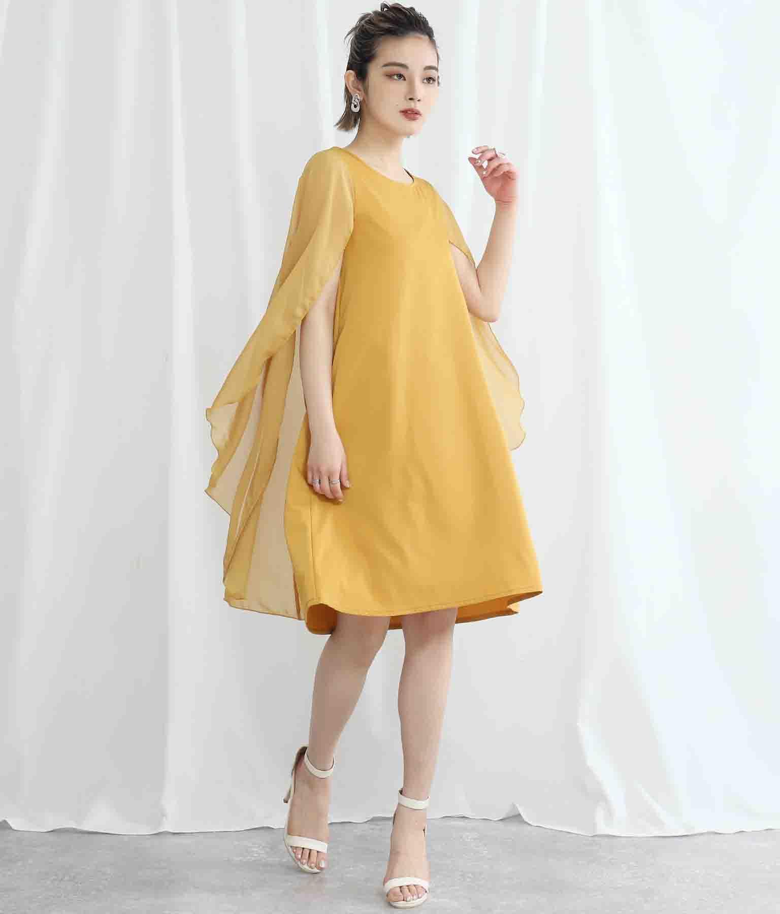 シフォンマント風デザインワンピース(ワンピース・ドレス/ミディアムワンピ) | Settimissimo