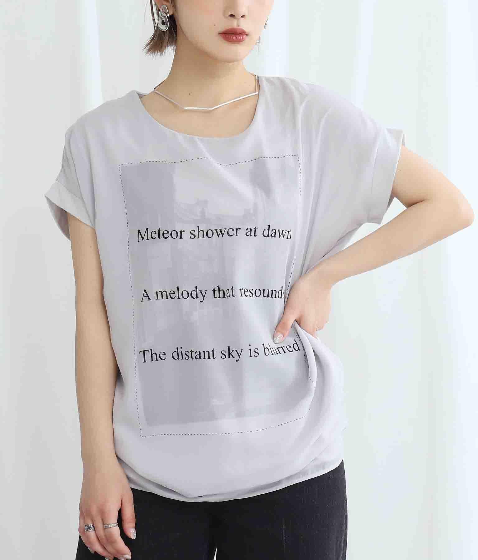 モノトーンタウンプリント3DTシャツ