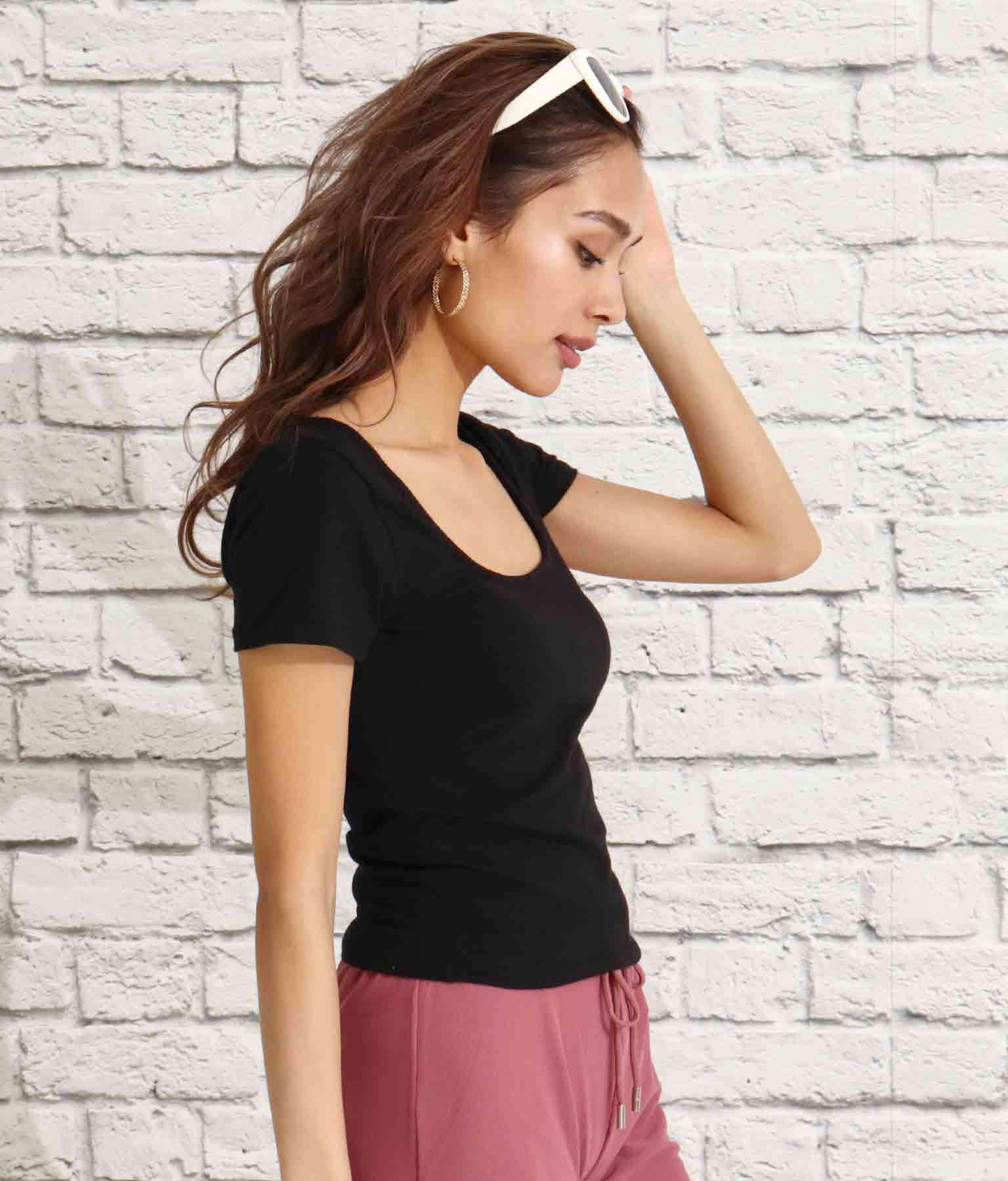 スクエアネックタイトフィットTシャツ(トップス/Tシャツ) | Anap USA