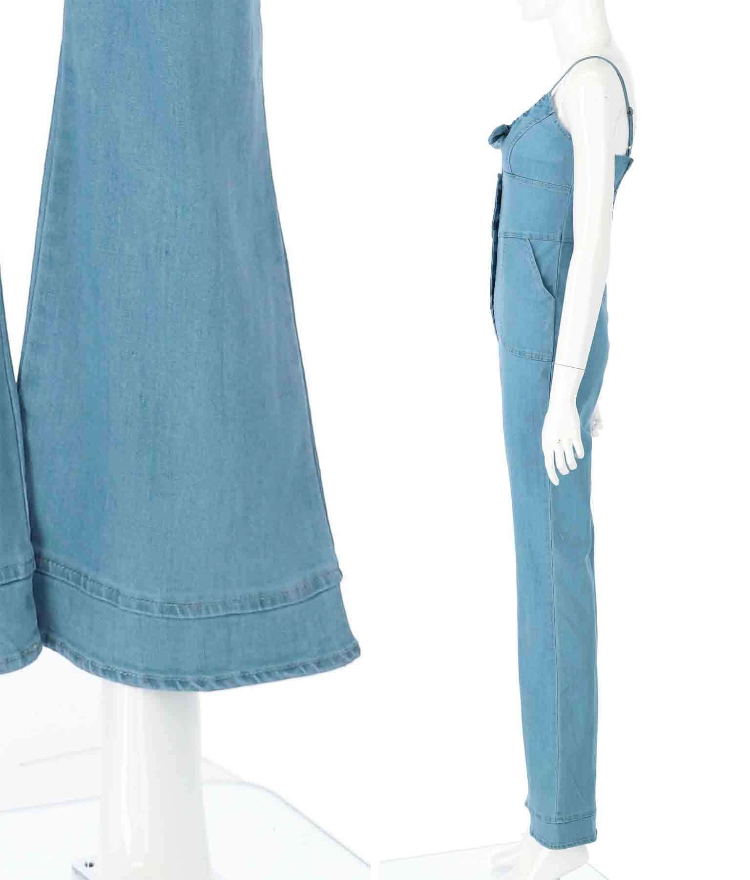 フロントリボンフレアパンツデニムオールインワン(ワンピース・ドレス/サロペット/オールインワン) | Anap USA