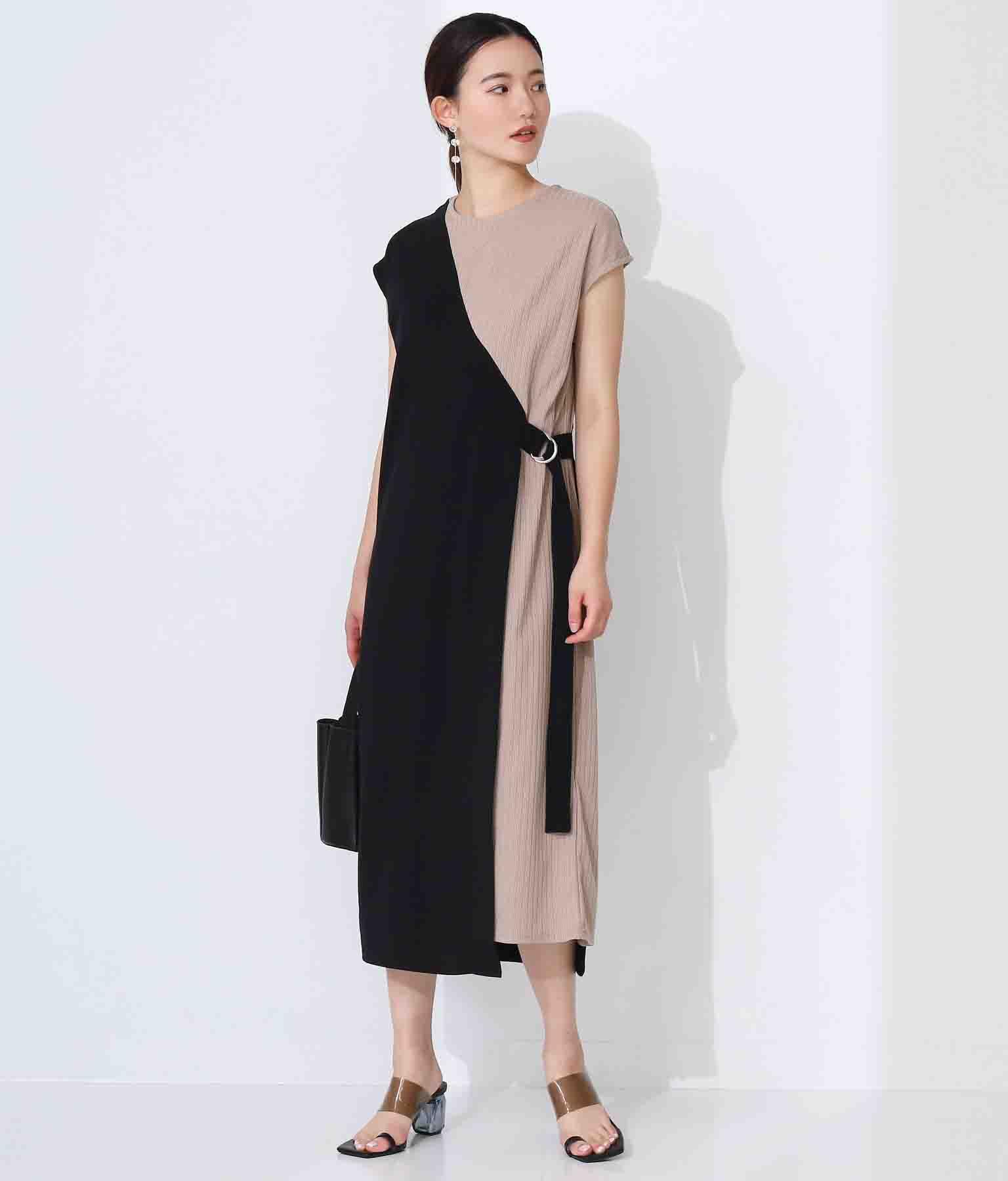 ワンショルダーレイヤードワンピース(ワンピース・ドレス/ロングワンピ・マキシ丈ワンピース) | Alluge