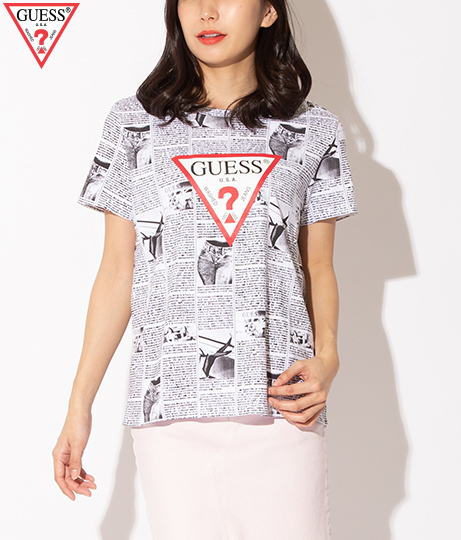 GUESS SS NEWS PRINT LOGO EASY TEE