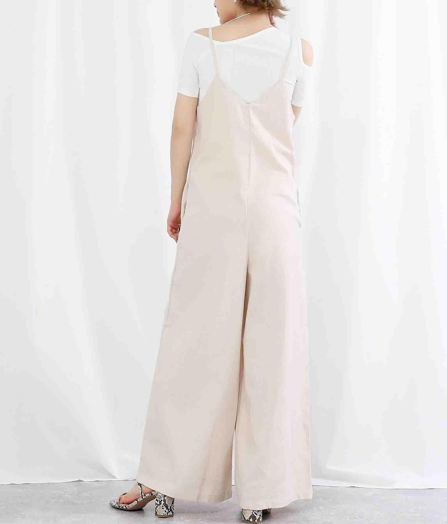 リネン混ディープVネックワイドパンツオールインワン(ワンピース・ドレス/サロペット/オールインワン) | Settimissimo