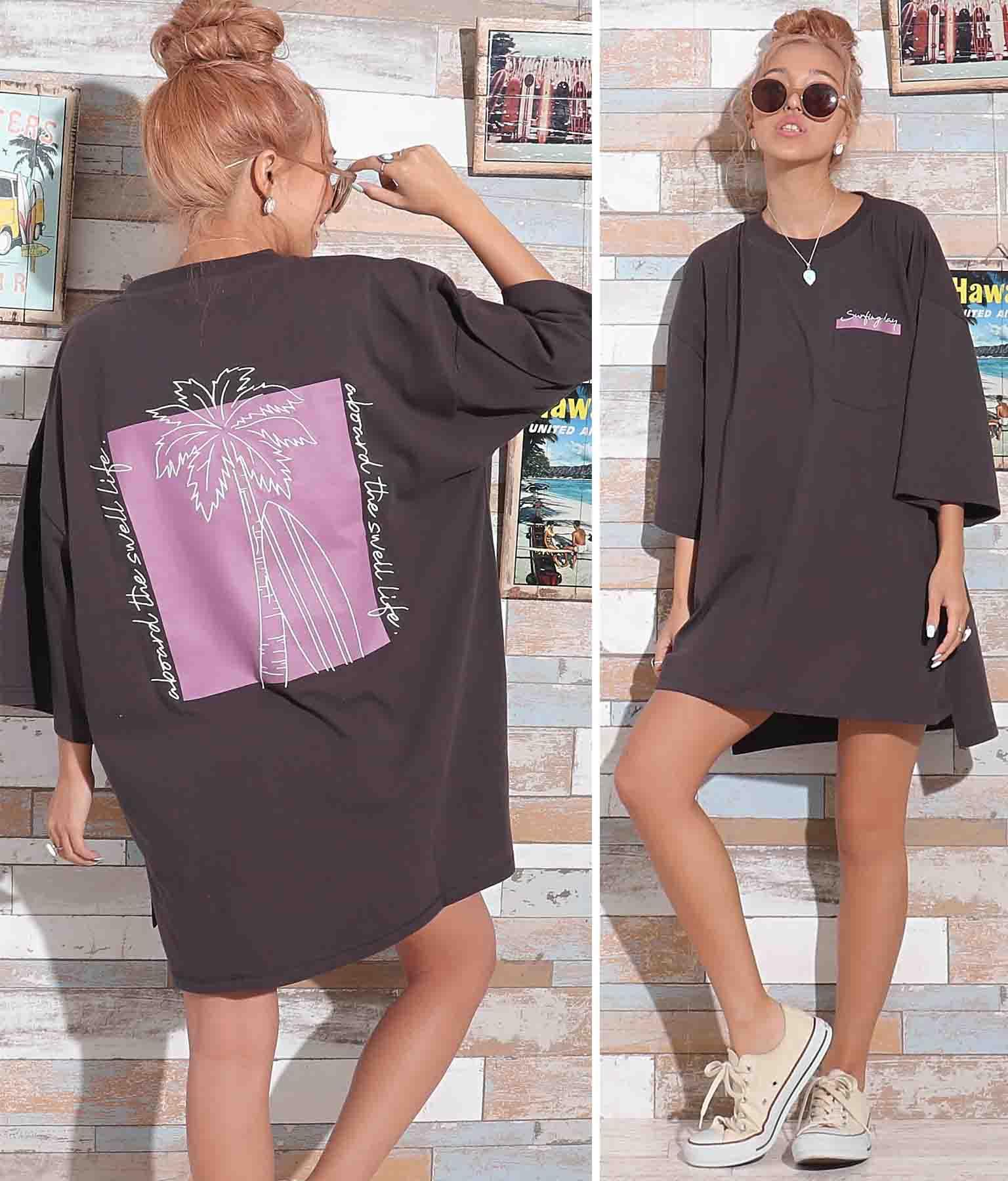 パームツリー刺繍Tシャツ