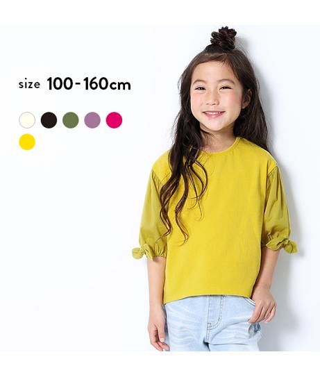 袖口リボン7分袖Tシャツ