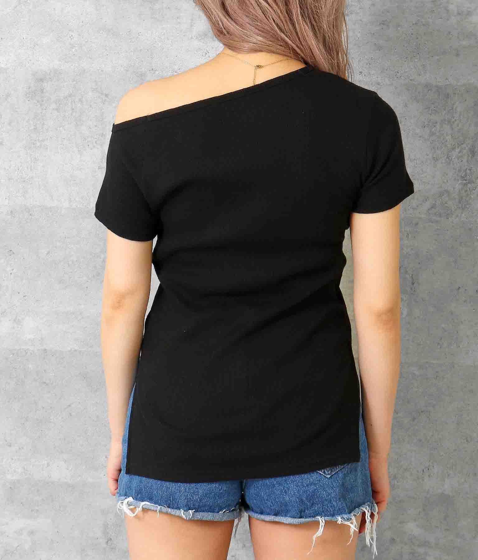 アシンメトリーネックサイドディープスリットリブトップス(トップス/Tシャツ)   anap Latina
