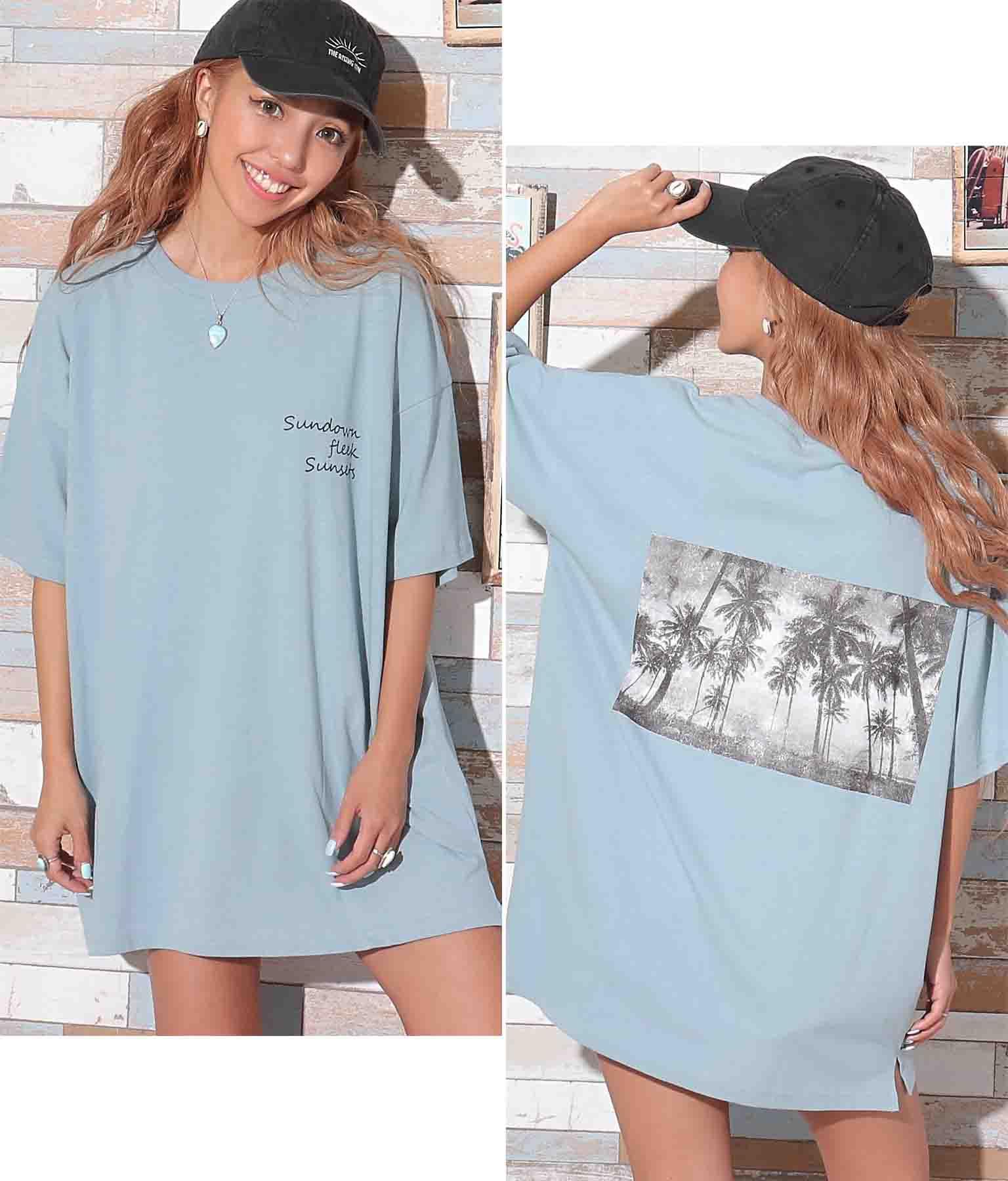 パームツリーモノクロフォトTシャツ