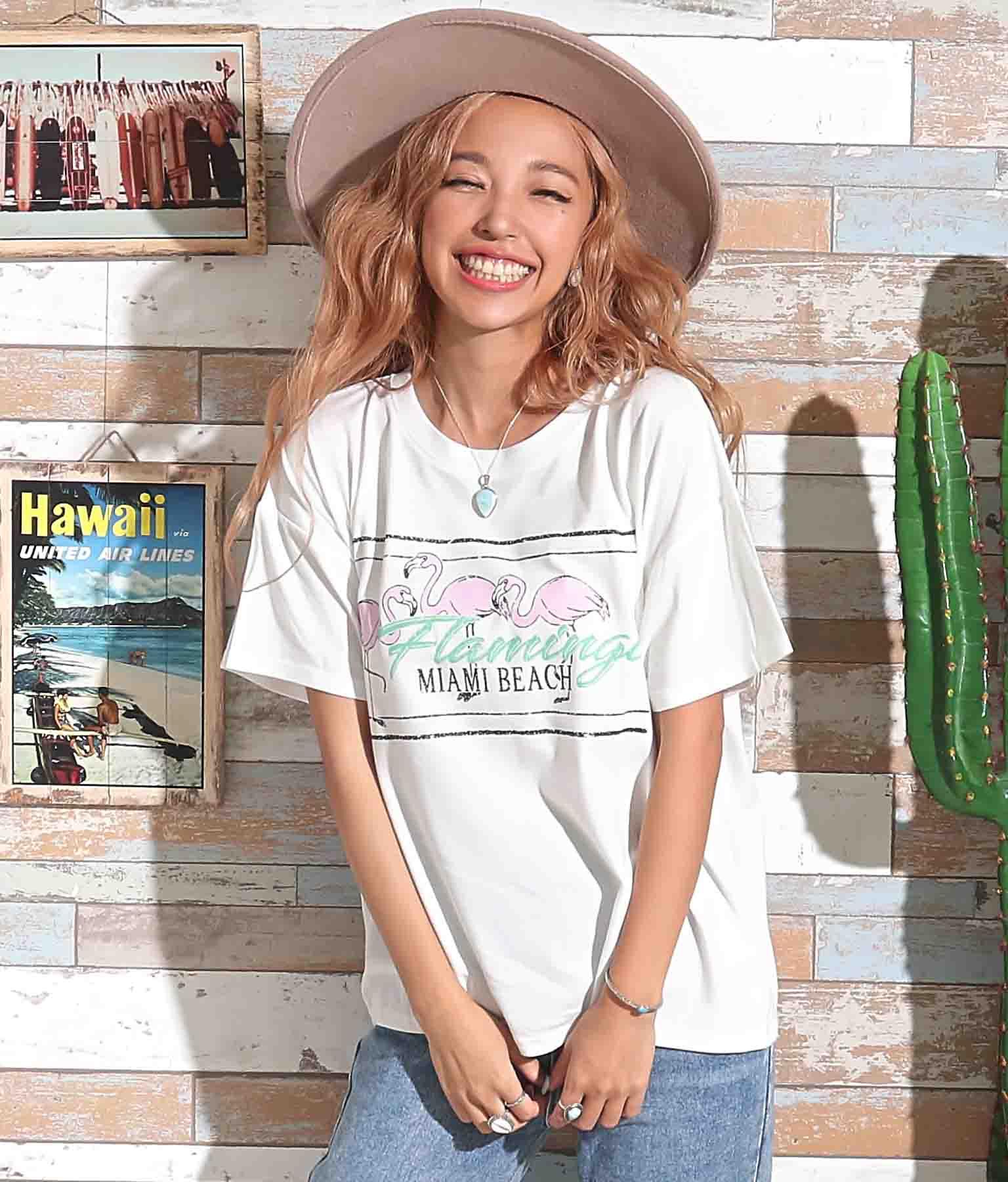 フラミンゴプリントTシャツ