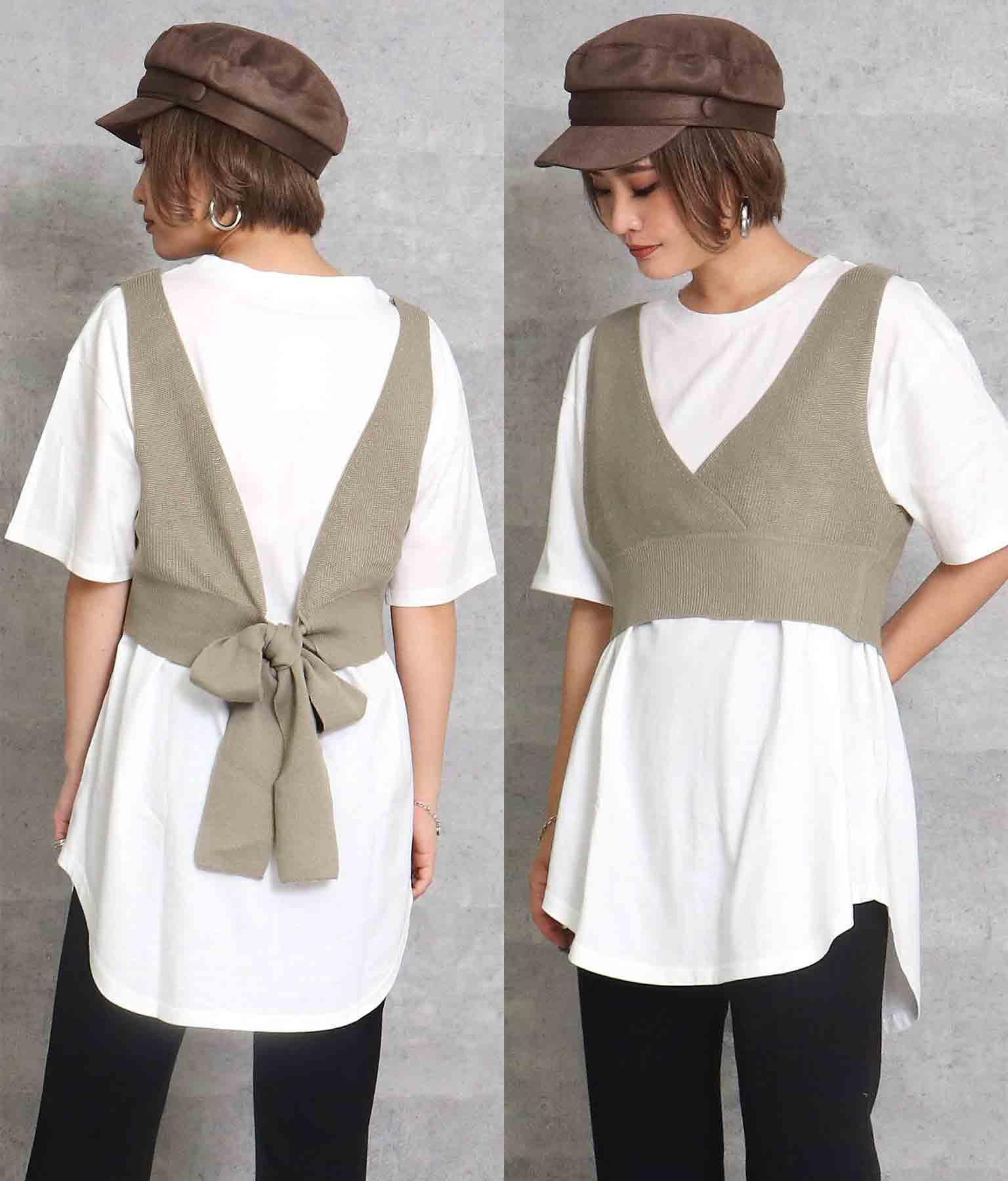 Tシャツ+ニットビスチェセット